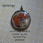 Victorian Sterling Double Sided Butterfly Glass Pendant