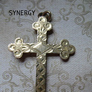 Victorian Budded Cross With Byzantine Design in Gold Fill