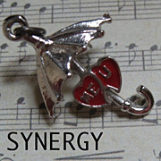 Sterling Umbrella Charm With ME/U Red Enameled Hearts