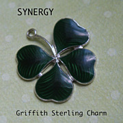 Guilloche Enameled Sterling Lucky Four Leaf Charm by Griffith