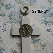 Magnificent Celluloid Ivory Color Cross With Sainte Anne Medallion