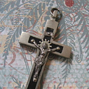 SOLD Pectoral Crucifix Silvertone Inlaid With Ebony Wood