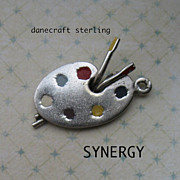 Sterling Artist's Palette Enameled Charm by Danecraft