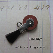 Wells Sterling Mechanical Eraser Wheel With Brush Charm