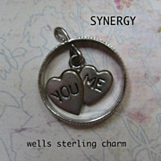Sterling You/Me Double Heart In Ring Charm by Wells