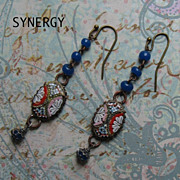 Vintage Micro-Mosaic Artisan Drop Earrings