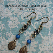 Vintage Miraculous Medal With Mosaic Artisan Faith Earrings