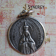 SOLD Older Portuguese Our Lady Of Fatima 925 Repousse Medallion