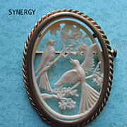 Celluloid Depose French Bird Silhouette Brooch