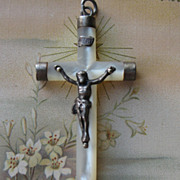 Mother Of Pearl Sterling Crucifix