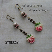Artisan Vintage Celluloid Rose Drop Earrings