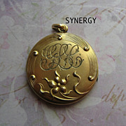 Art Nouveau Floral Repousse Locket in Gold Filled With SBC Mark