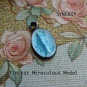 SOLD Miniature Blue Enameled Sterling Miraculous Medal
