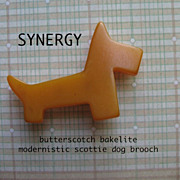 Modernistic Bakelite Scottie Dog Brooch in Butterscotch