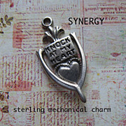 "Sterling Mechanical Door Knocker Charm ""Knock At My Heart"""