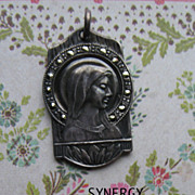 Our Lady Of Lourdes/Sacred Heart of Jesus Sterling Medal With Marcasites
