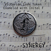 Victorian Enameled Love Token With Initials F J on Seated Liberty Dime