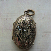 Victorian Taille D'Epargne Enameled Locket With Lily of Valley Motif