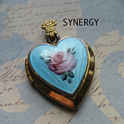 Guilloche Enameled Blue Heart Locket With Rose Marked Gold Filled