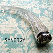 Victorian Sterling Top Zipper Glass Lay Down Perfume Bottle
