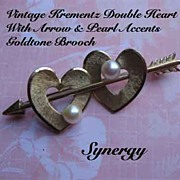 KREMENTZ Double Heart With Arrow Brooch With Pearl Accents