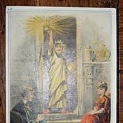 SALE 1890's Foster Higgins Mass. Lady (Man) Liberty Christmas Promo TC