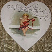 SALE 1900's Valentine Die Cut Heart Shape w/ Cupid