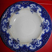SALE 19thC Flow Blue Rosetta Pattern Large Soup Bowl