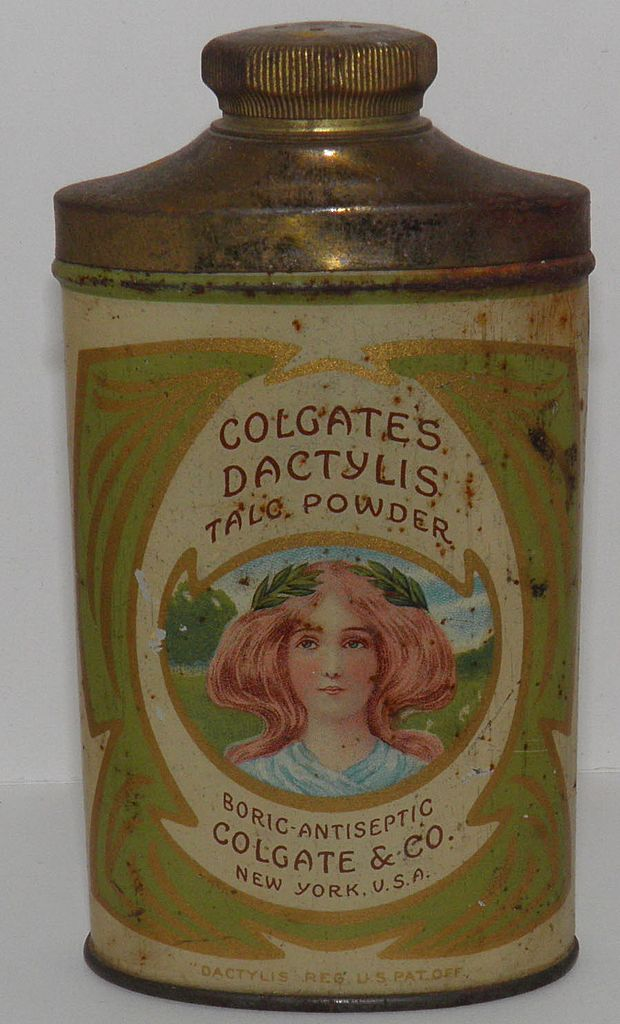Colgate's Dactylis Talc Tin Wonderful Art Nouveau Graphic *Great*
