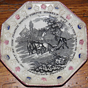 SALE 1850 Franklin's Proverb Octagon Poly-Chrome Child Plate