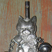 SALE Vintage Cat and Fiddle Baby Rattle & Whistle w/Bells & Wooden Handle