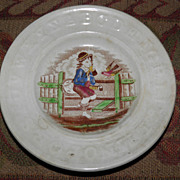 SALE 1860's Staffordhsire ABC Child's Plate w/Boy & Bird