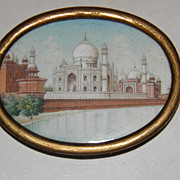 19th C Taj Mahal Hand Painted Miniature