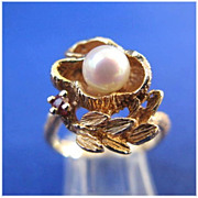 14 Karat Gold Pearl & Ruby Floral Ring - Size 6 1/2