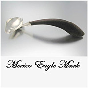 Mexican Eagle Mark Sterling Silver & Wood Sauce Ladle