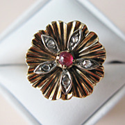 SALE 18 Karat Gold Rose Cut Diamond & Cabochon Ruby Ring - Size 7