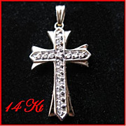 14 Karat Yellow Gold & Diamond Cross Pendant