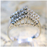 14 Karat White Gold Diamond Cluster Ring  Size 5 1/4