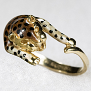 Purrrfect Spotted Leopard Enamel Cat Ring 14k Gold