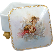 Vintage Hand Painted Porcelain Cherubs Gold Gild Footed Trinket Box