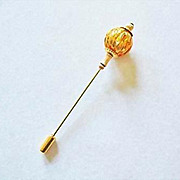 SALE Gorgeous Amber Venetian Art Glass Stick Pin, 24K Gold Foil - Murano Glass Foil Bead & Amb