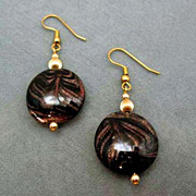 SOLD Gorgeous Black Venetian Art Glass Pierced Earrings - Gold Aventurine Murano Glass Beads