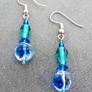 SALE Gorgeous Blue German Art Glass Earrings RARE - Vintage 1940's German Glass Beads, Carribe