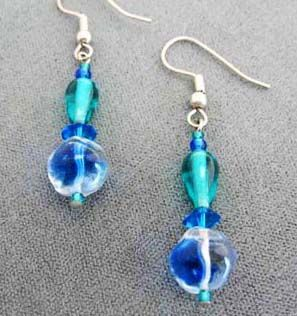 Gorgeous Blue German Art Glass Earrings RARE - Vintage 1940's German Glass Beads, Carribean Blue & Teal