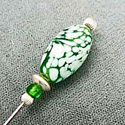 SALE Fabulous Venetian Art Glass Stick Pin RARE - Vintage 1940's Green & White Swirl Venetian
