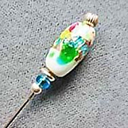SALE Fabulous 1950's Vintage Asian Glass Stick Pin, RARE - 1950's Japanese Silver Foil ...