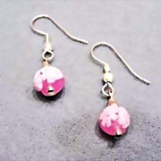 SALE Beautiful Venetian Millefiori Art Glass Earrings � Pink & White Murano Glass Beads