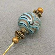 SOLD Venetian Art Glass Stick Pin w/ Gold Aventurina - GORGEOUS Turquoise, Black, Bronze Bead