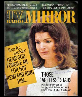 Sept 1972 'TV Radio Mirror' Hollywood Magazine - Jackie Kennedy /  Elvis Presley