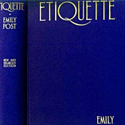 SALE 1927 Emily Post 'Etiquette' The Blue Book of Social Usage - RARE Unclipped DJ, Illustrate